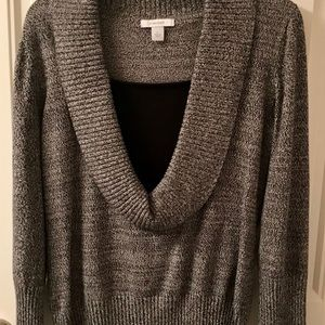 Dress barn cowl neck black and grey sweater